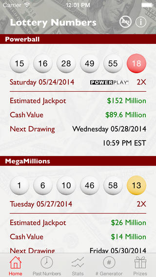 Powerball and MegaMillions Lottery Numbers