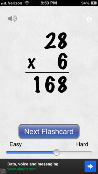 Awesome Flashcard Multiplication FREE iPhone Screenshot 3