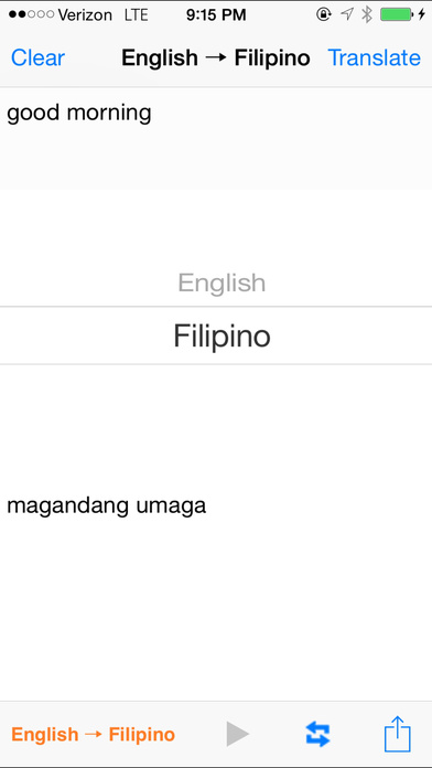 English Filipino Translator iPhone Screenshot 2