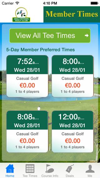 Hollystown Golf Club Members Tee Times