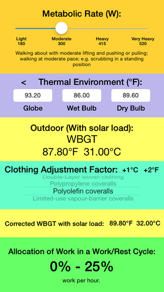 Thermal Stress Calculator - Calculate instantly WBGT with or without solar load