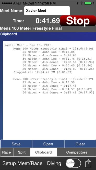 Swimming Coach's Clipboard for iPhone iPhone Screenshot 2