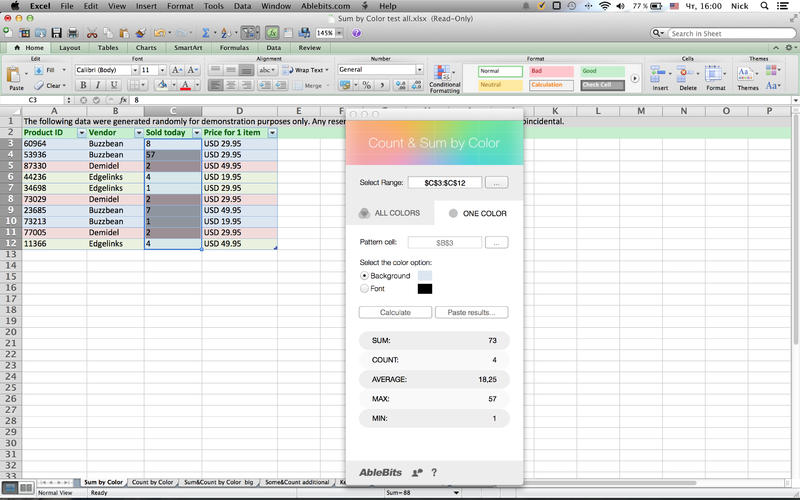 Count  Sum by Color for Microsoft Excel Screenshot - 4