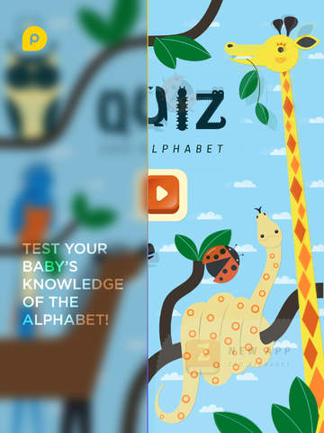 Mini-U: ZOO Quiz. Children game with interactive intro to the alphabet and letters with animal pictu