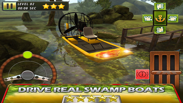 Swamp Boat 3D River Sports Fast Parking Race Game