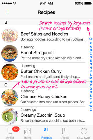 Grocery List Generator Lite - Create shopping lists and store all your recipes. screenshot 4