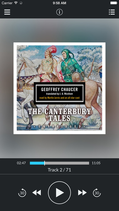 The Canterbury Tales (by Geoffrey Chaucer) (UNABRIDGED AUDIOBOOK) : Blackstone Audio Apps : Folium Edition iPhone Screenshot 3