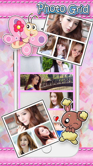 Cute Frame photo editor : plus sticker filters effects grid border stitch
