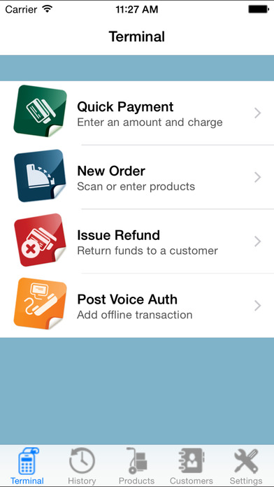 USAePay Point of Sale Credit Card Payment System iPhone Screenshot 1