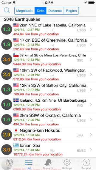 Quake Spotter - Map List Widget and Alerts
