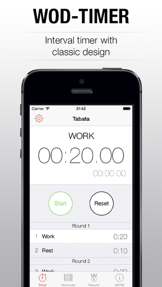 WOD Timer - interval tabata timer for workout of t