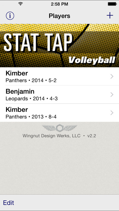 Stat Tap Volleyball iPhone Screenshot 1