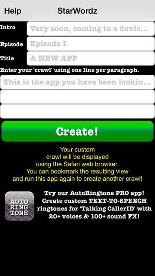 STAR WORDZ Create Your Own Crawling Wars Style Text Message Title Screen