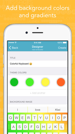 Kiwi - Colorful, Custom Keyboard Designer with Emoji for iOS 8 Screenshots