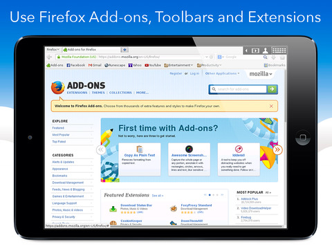 VirtualBrowser for Firefox + Flash Player, Java browser & Add-ons - iPad edition Screenshots