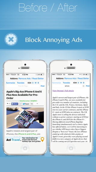 Add-ons For Browser - BlockAds Translate Summarize Read better Find in Page More