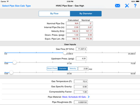 HVAC Pipe Sizer - Gas Plus iPad Screenshot 2