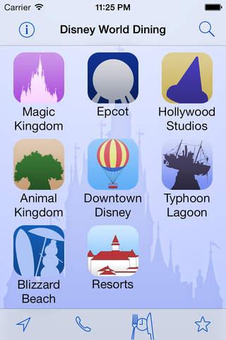 Disney World Dining app screenshot