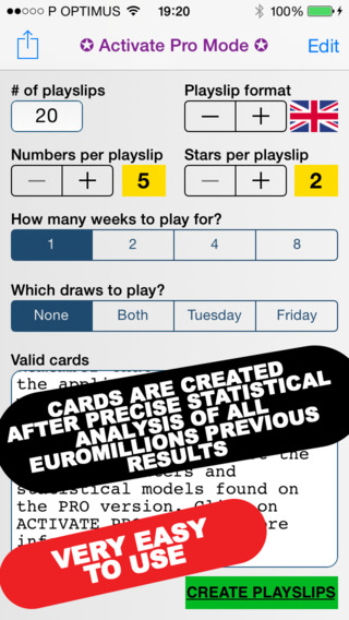 Millions for EuroMillions for iPhone Intelligent Playslip Generator