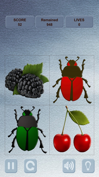 Berries and Bugs. Collect berries and do not touch the bugs