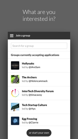 Interests – Private Discussion Groups
