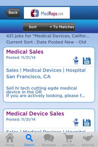 Screenshot of MedReps Mobile Job Search App