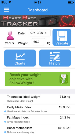 Physio Tracker calculate and monitoring BMI BFM ideal weight and basal metabolism.