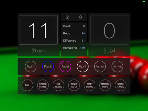 Snooker Scorer Screenshots