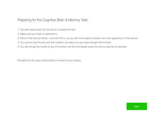 Cognitive Brain Memory Test - Helping spot early s