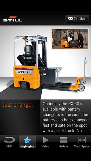STILL RX 50 electric forklift truck iPhone Screenshot 3