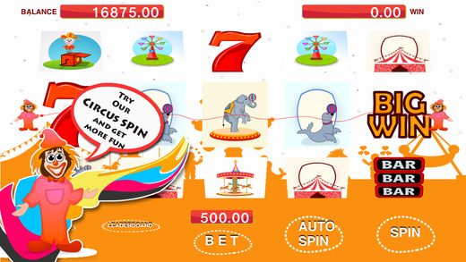 Ace of Happy Clown Circus Slots Machine - Spin the wheel over the rope to win big prizes