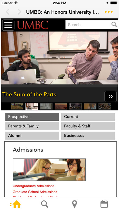 UMBC Mobile iPhone Screenshot 1