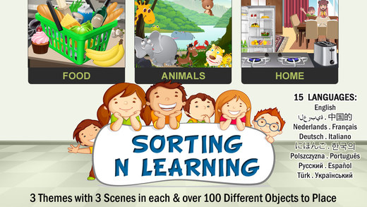 Sorting n Learning game for Kids – 100 fruits vegetables desserts animals and home objects for class