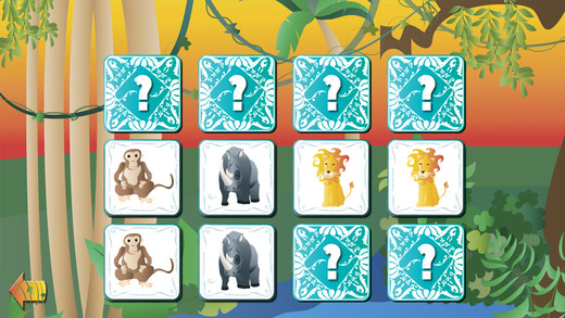 Animal Pairs Game: The Jungle