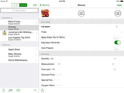 Smart Shopping List iPad Screenshot 2