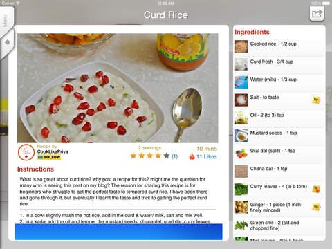 Sweet'N'Spicy Indian Recipes iPad Screenshot 4