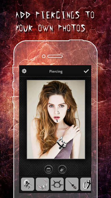 Screenshots of Piercing & Tattoo Booth FREE - Add Virtual Piercings & Tattoos to make body art inked or pierced for iPhone