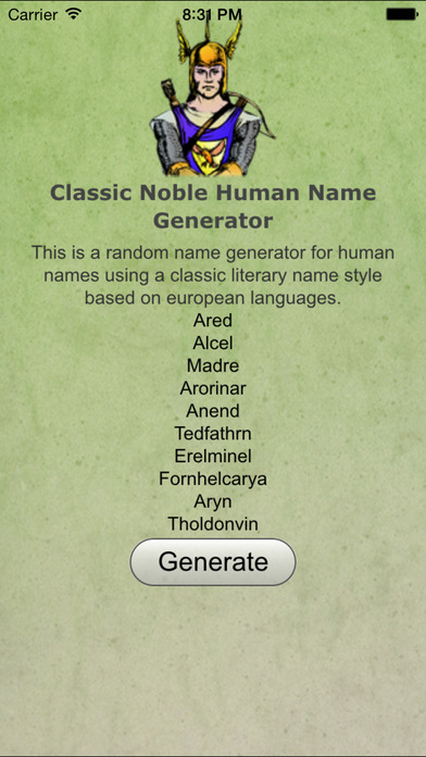 Noble Human Name Gen Classic iPhone Screenshot 1