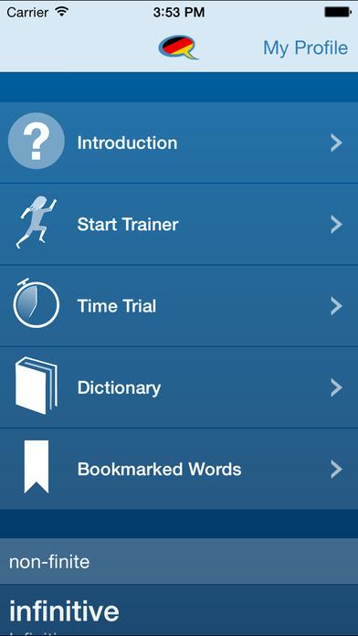 German Verb Conjugation Trainer by Wie Geht's German iPhone Screenshot 5