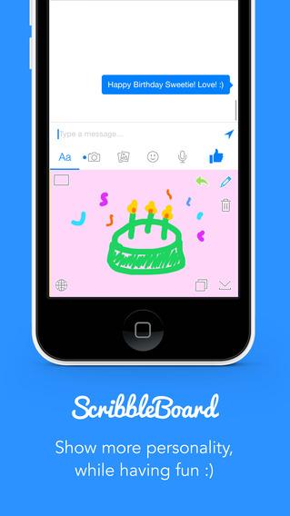 ScribbleBoard для iOS 8 - Клавиатура рисовать и строчить свои сообщения Screenshot