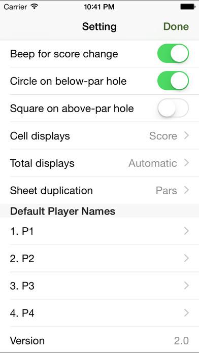Golf Score Sheet iPhone Screenshot 2