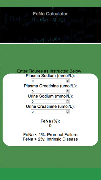 Fractional Excretion of Sodium FeNa Calculator