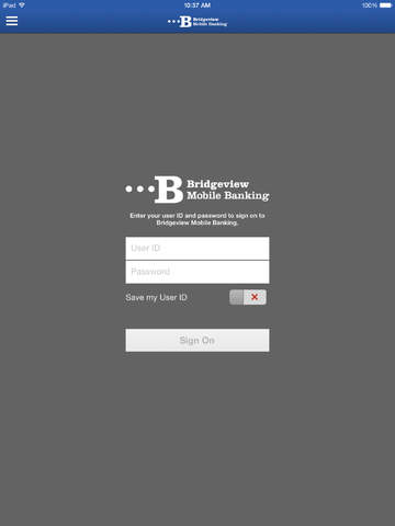 Bridgeview Mobile Banking for iPad