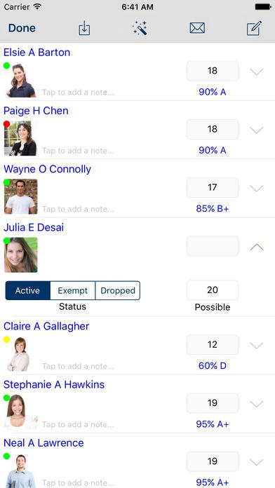GradeBook Pro iPhone Screenshot 2