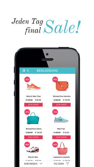 Lastminute Fashion Sale - Die mobile Online Shopping App mit Designer Mode für iPhone