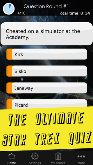 Quiz App for Star Trek - A Sci Fi space trip from the original series over TNG to DS9 Voyager and th