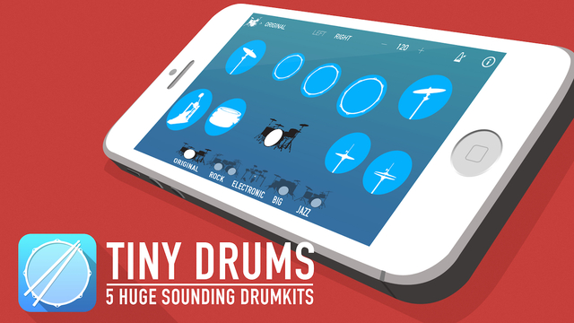 Tiny Drums - Play Beats with 5 Drum Kits Sets for Right Left Handed Drummers