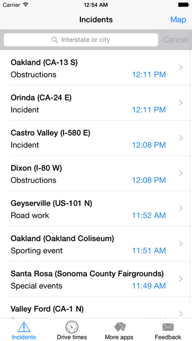 Bay Area Traffic Monitor iPhone Screenshot 1
