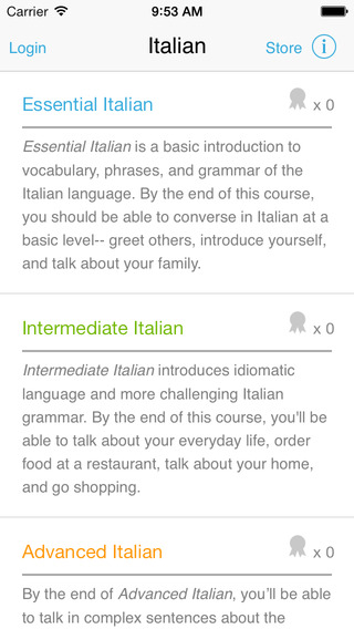 Italian by Living Language for iPhone