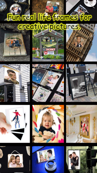 Frame-it Free - Real life picframe portrait enhancer Arty square frames to overlap full size picture